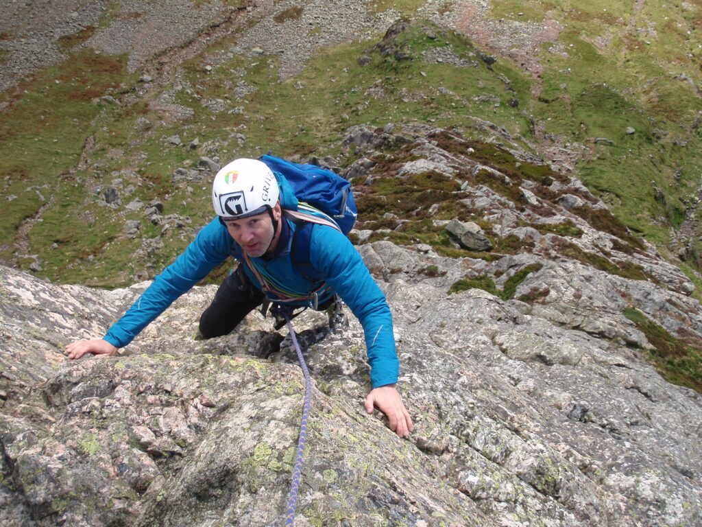 Climbing 'C' Route on Gimmer Crag