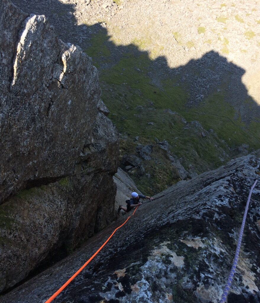 Climbing Engineer's Slabs on Gable Crag